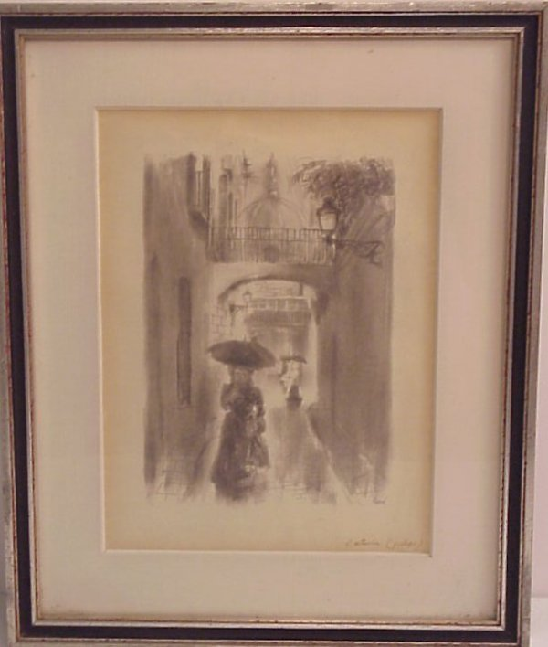 1002: French rainy street scene with figures, black and