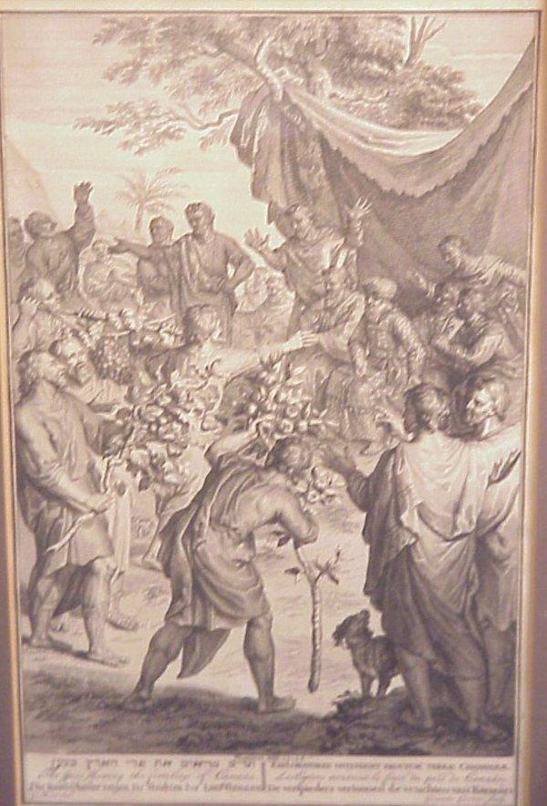 1004: 3 18thc Judaica Biblical scene engravings, Hebrew
