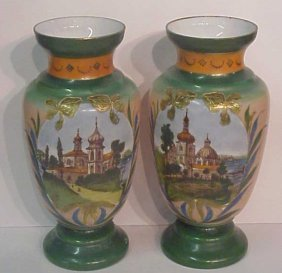 2012: Pair of 19thc Russian glass vases handpainted wit