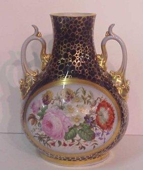 2016: 19thc Old Paris porcelain cobalt vase painted wit