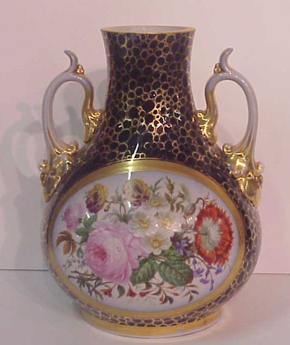 2016: 19thc Old Paris porcelain cobalt vase painted wit