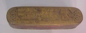 2017: 18thc brass and copper tobacco box, engraved with