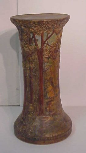 Weller Forest Jardiniere Base, Signed On Bottom,