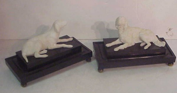 2022: Pair of 19thc French alabaster figures of dogs, 3