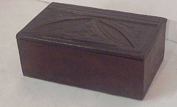 "2023: 19th C leather box, 3""h, 8"" x 4 3/4"""