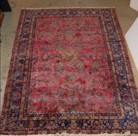 """2063: Semi antique Sarouk carpet red ground 9' x 12'3"""""""