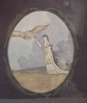 """2246: Tramp Art frame with """"Liberty"""", lady and eagle  w"""