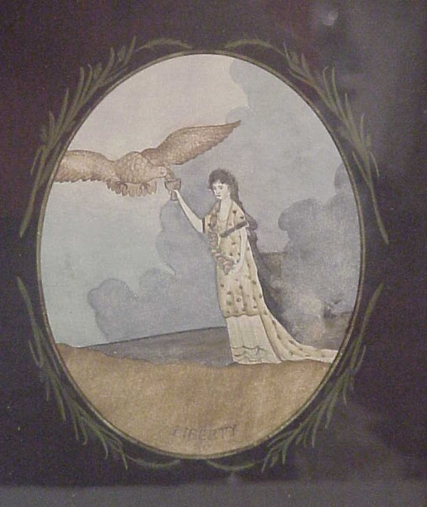 "2246: Tramp Art frame with ""Liberty"", lady and eagle  w"