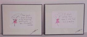 "2 Audrey Hepburn Framed, Autographed Quotes, 8"" X"