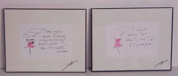 "2007: 2 Audrey Hepburn framed, autographed quotes, 8"" x"