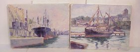 2 Harry Newman Harbor Scenes With Boats, Oil On