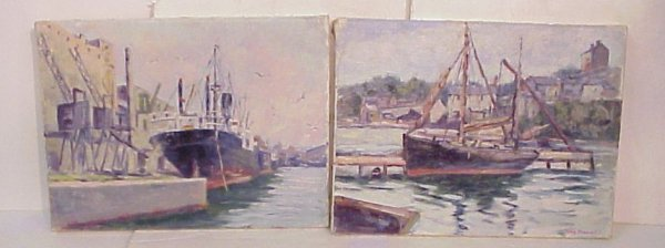2014: 2 Harry Newman harbor scenes with boats, oil on