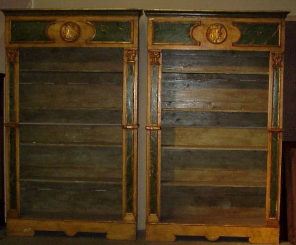 3100: Pair of 19th C French faux marble painted  bookca