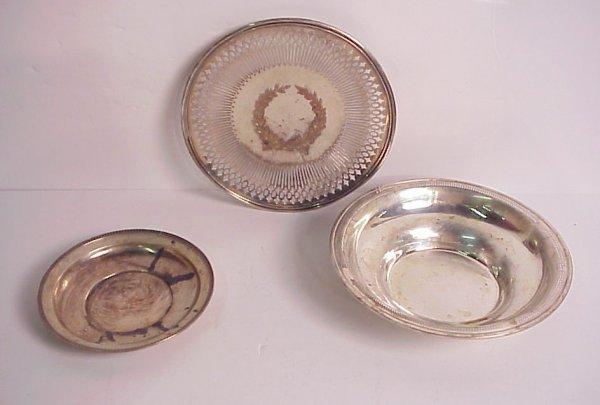 "3019: Sterling lot, small Tiffany plate 6 7/8"", Shreve"