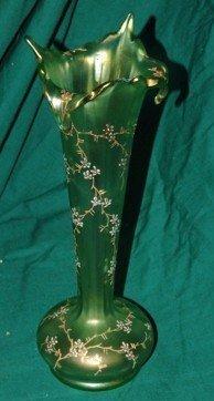 3026: Moser style enameled Glass vase. large chip to  e