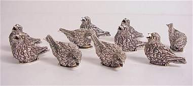 3094: Sterling bird place card holders, 10 pieces,  Ita