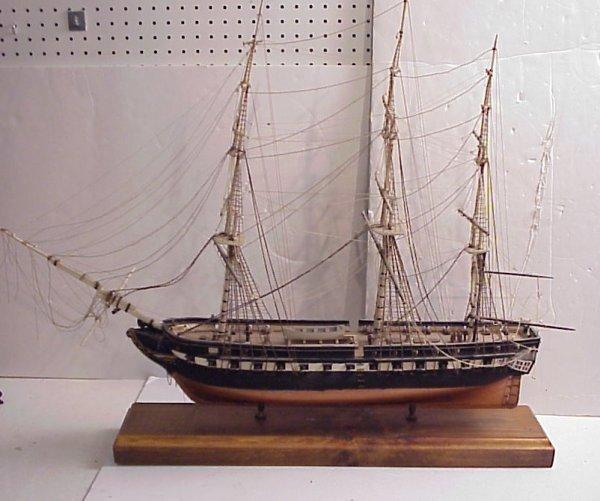 "3010: Constitution wood ship model, handmade, 28""h x  3"