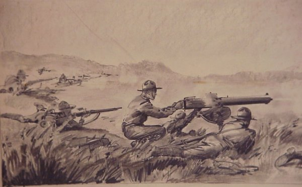 3018A: 2 WWII combat pencil drawings, signed Von  Arenb