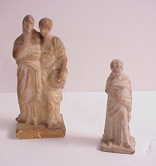 "4006: Antique terra cotta figures, 7""h and 5 1/4""h"