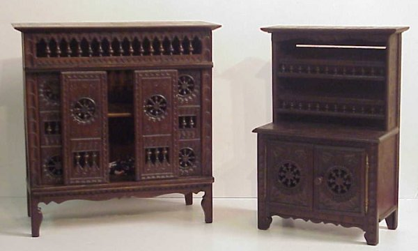 4015: 2 pc Country French salesmen sample / doll  furni