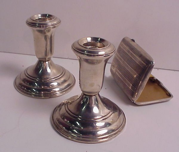 4003: Pair of Reed and Barton candlesticks and Gorham