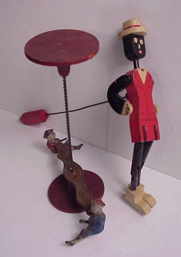 "4010: Vintage tin circus acrobatic  toy 10 1/2""h x 8"""