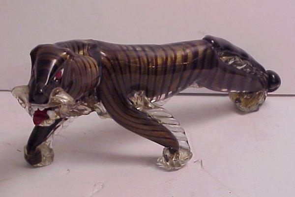 "4211A: Venetian glass tiger 17""w x 8""h, mid 20thc"