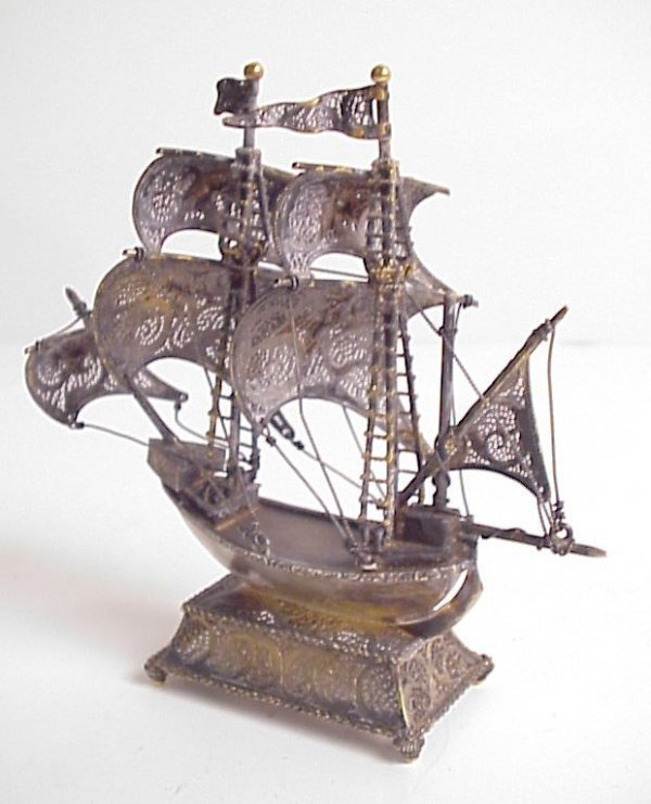 "4003A: Sterling silver ship with enamel crests, 4 3/4""h"