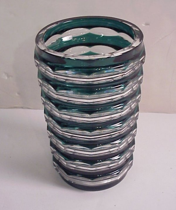 4012A: Val St. Lambert vase Green ribbed cut clear and