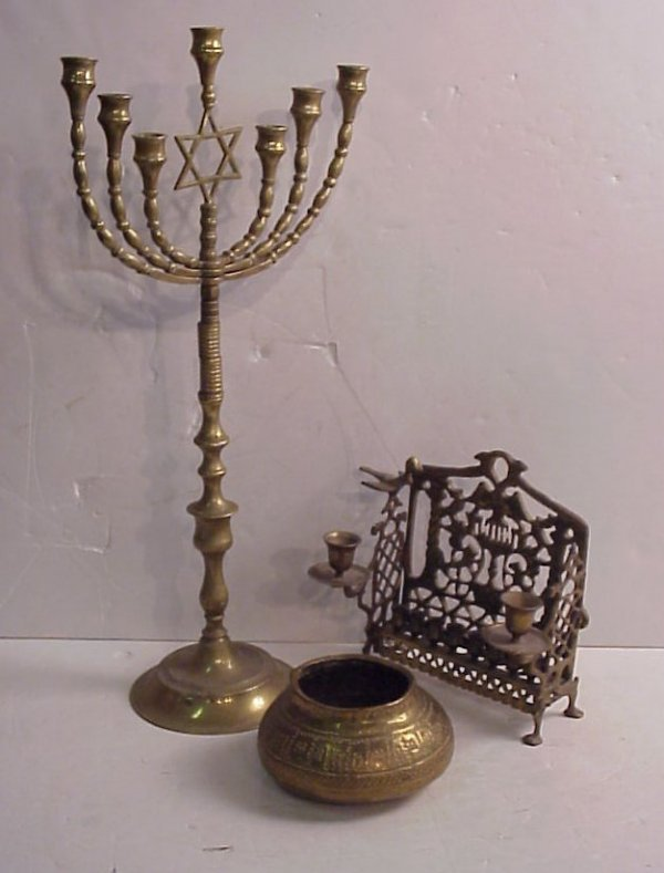 4005A: 2 vintage brass Menorah (1 has 7 lights) and a