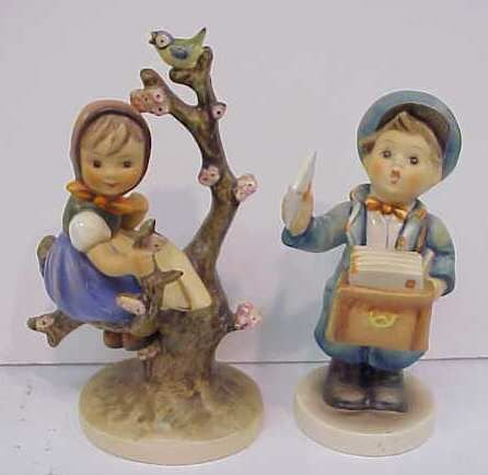 """3017: TWO HUMMELS,GIRL IN APPLE TREE 6"""", POSTBOY 5 1/2"""""""