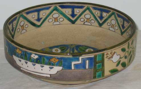 3023: ARTS & CRAFTS POTTERY BOWL, STAMED NIPPON, HAND D
