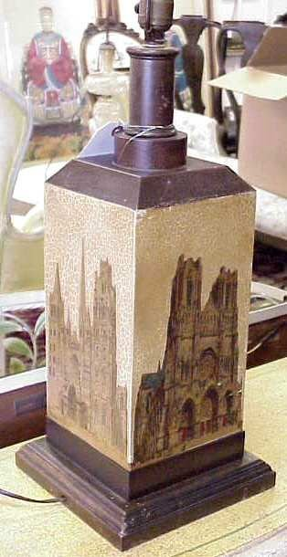 3026: FRENCH TOLE LAMP PAINTED WITH CATHEDRALS