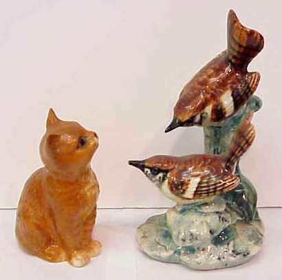 """3029: BESWICK CAT (4"""") & STANGL BIRD GROUP (3401D - 6 1"""