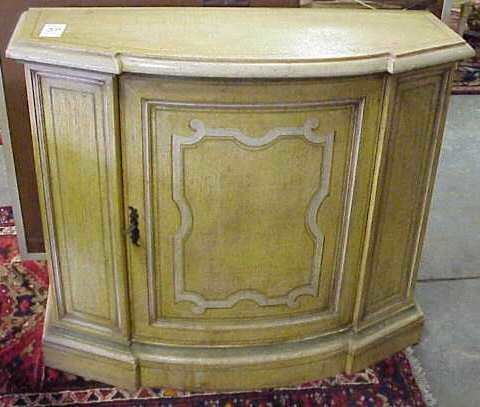 3030: FAUX PAINTED CREDENZA, MUSTARD, CREAM, GREEN, 34