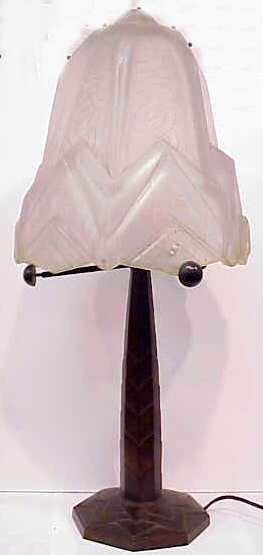 "3095: ART DECO BRONZE LAMP ""GAGNON CISELEUR PARIS"" STAM"