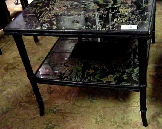 3040: BAMBOO REVERSE PAINTED TWO TIER TABLE
