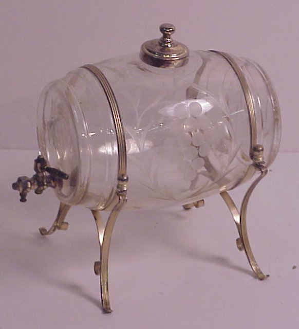 23: Antique etched glass wine casket with silverplate