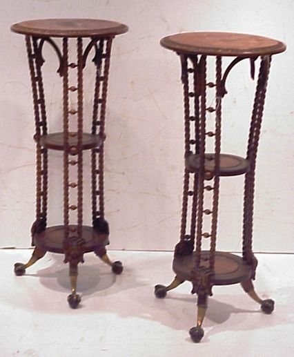 67: Pair of Hunzinger(?) plant stands, twist carved  wi