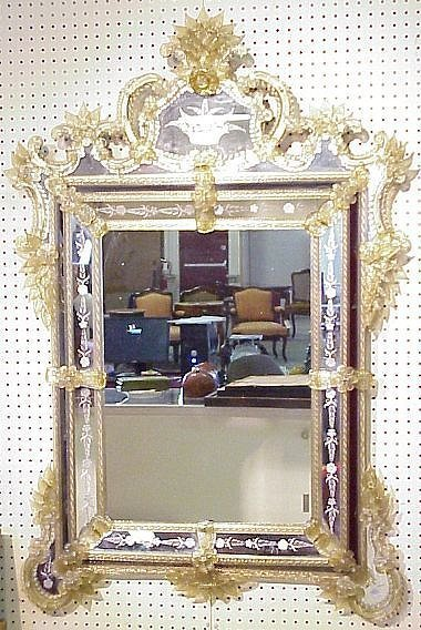 106: Mid 20th C Venetian mirror with etched glass  deco