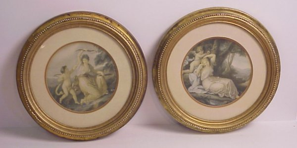 17A: Pair of framed cupid prints, round gilt wood  fram
