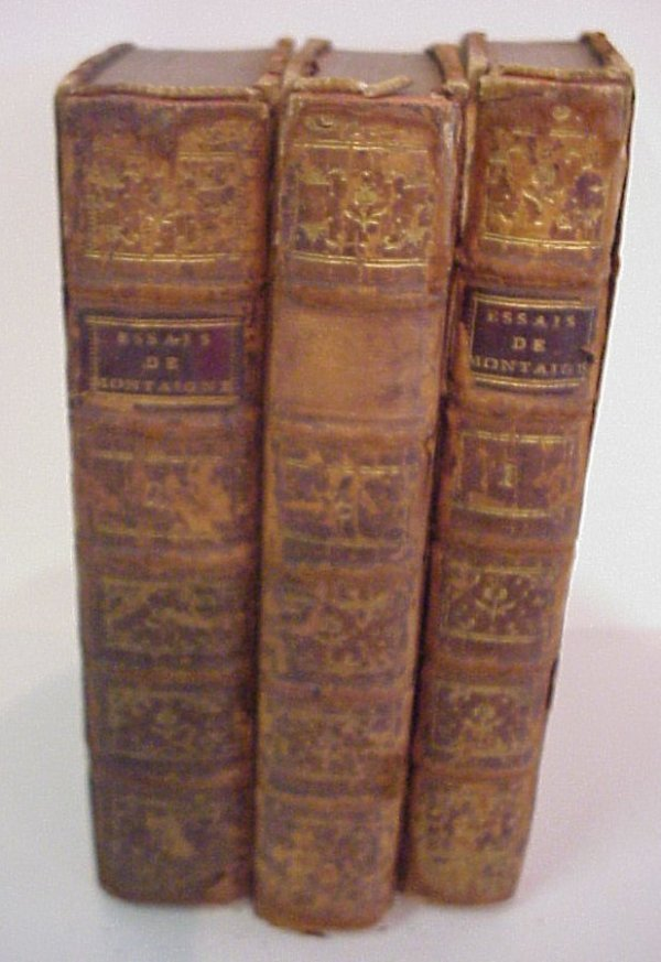 20A: Essays de Montaigne, 3 leatherbound volumes, dated