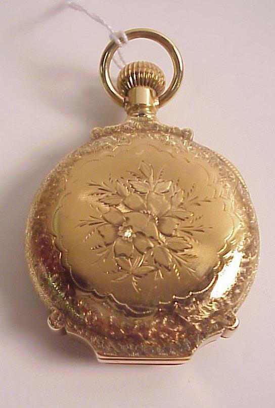 152: 14k gold Waltham railroad pocket watch, face  mark