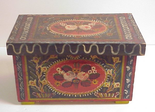 "28A: Miniature folky painted trunk, 8 1/2""h, 15"" x 9"""