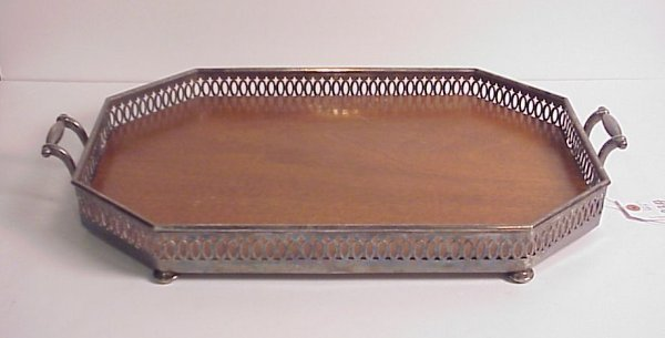 23A: Mahogany and silver plate footed tray