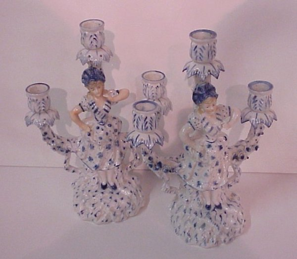 14: Pair of blue and white porcelain figural three  lig