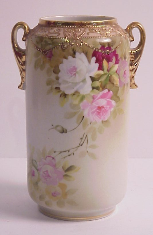 16: Nippon rose and gilt decorated cabinet vase, 7  1/2