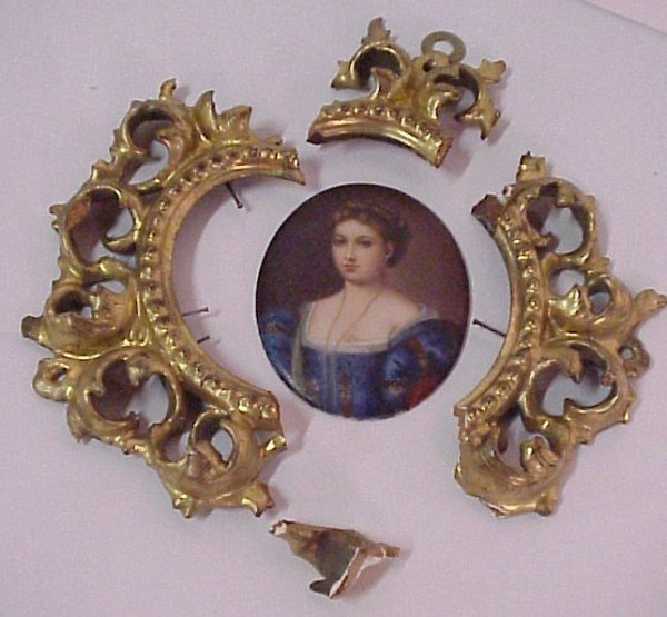 18: Miniature portrait on porcelain, unmarked, 3 3/8""