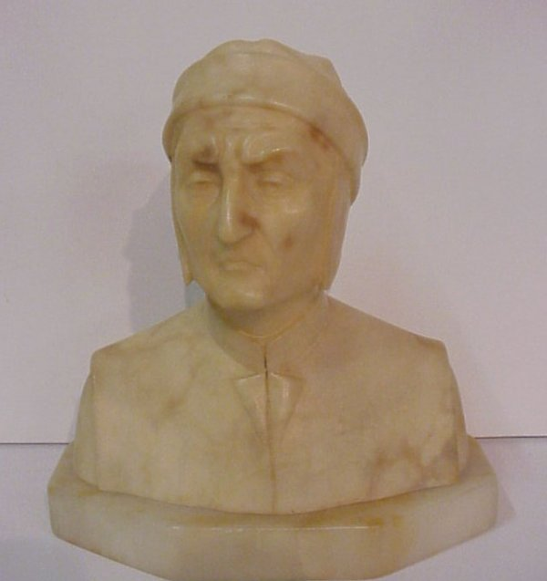 "22: Dante alabaster bust, 7""h x 6 1/2""w, early 20thc"