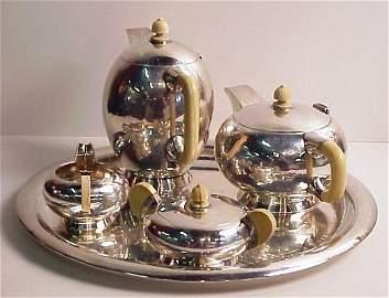 124: Austrian Secessionist silver 5 piece tea/coffee  s